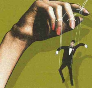 woman pulling puppet strings